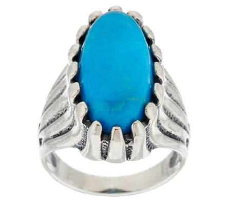 American West Turquoise North-South Sterling Ring
