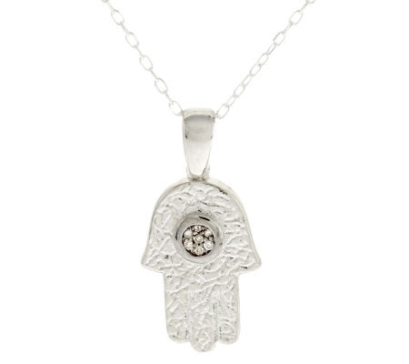 "Or Paz Sterling Diamond Accent Hamsa Pendant with 18"" Chain"