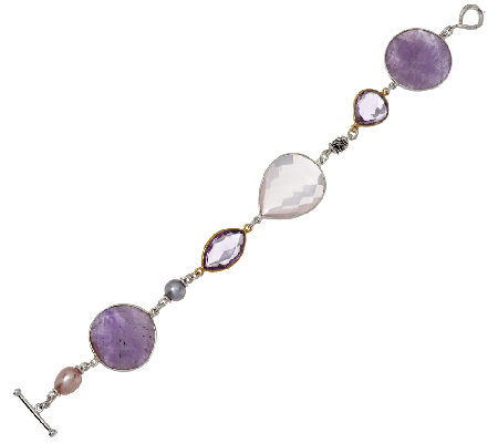 "Michael Dawkins Sterling/14K Plated Gemstone 50.25cttw 7-1/4"" Bracelet"