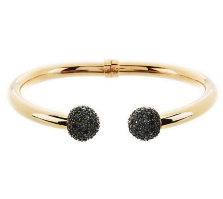 """As Is"" Italian Silver Sterling Avg. 4.00 cttw Black Spinel Bangle"