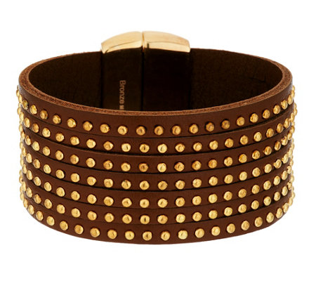 Bronze Studded 7-Strand Leather Bracelet by Bronzo Italia