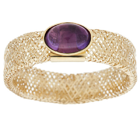 14K Gold Oval Cabochon Gemstone Mesh Stretch Ring