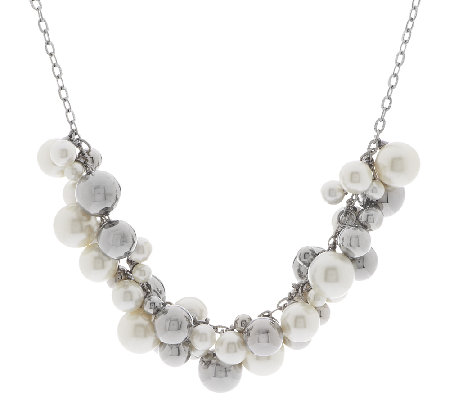 Stainless Steel Simulated Pearls and Beads Charm Necklace
