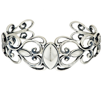 Carolyn Pollack Sterling Marquise & Scroll Design Cuff, 24.0g - J293798