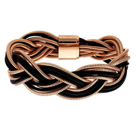 """As Is"" Bronzo Italia Braided Leather & Snake Chain Bracelet"
