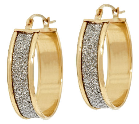 14K Gold Pave' Glitter Round Hoop Earrings