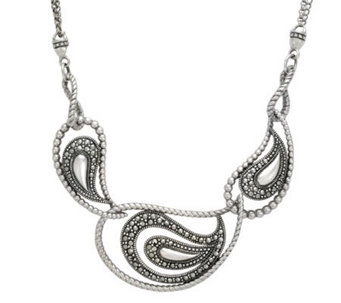 Suspicion Sterling Marcasite Frontal Necklace - J298498