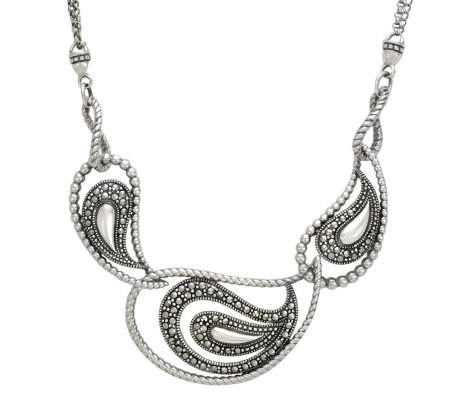 Suspicion Sterling Marcasite Frontal Necklace