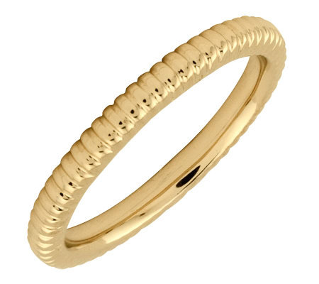Simply Stacks Sterling 18K Yellow Gold-Pltd 2.25mm Ribbed Ring