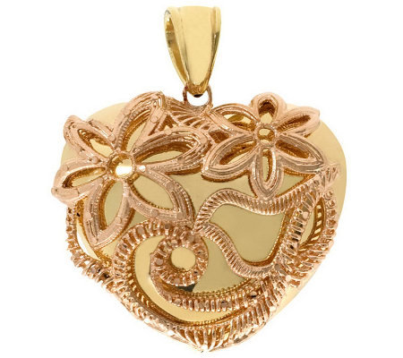 Arte d'Oro Polished Puffed Heart with Detail Pendant, 18K Gol