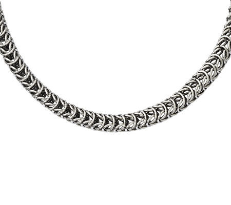 "Stainless Steel 22"" Fancy Square Spiga Chain Necklace"