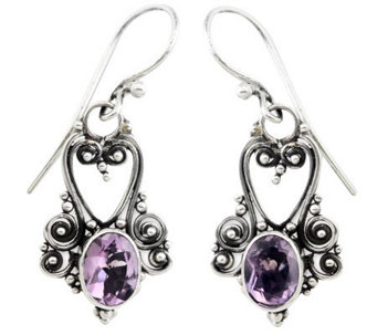 Novica Artisan Crafted Sterling Oval Amethyst Earrings - J309798