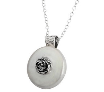 Or Paz Sterling Rose & Cultured FW Pearl  Pendant with Chain - J309998