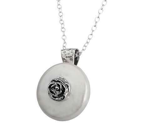 Or Paz Sterling Rose & Cultured FW Pearl  Pendant with Chain