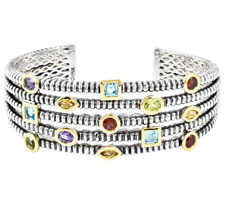 Sterling Two-tone Multi-Gemstone Textured Bangle