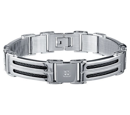 Men's Diamond Link Bracelet, Stainless Steel byAffinity