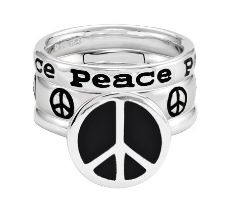 Simply Stacks Sterling Peace Ring Set