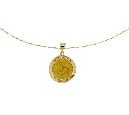 "Polished Saint George Pendant w/ 18"" Chain, 14KGold"