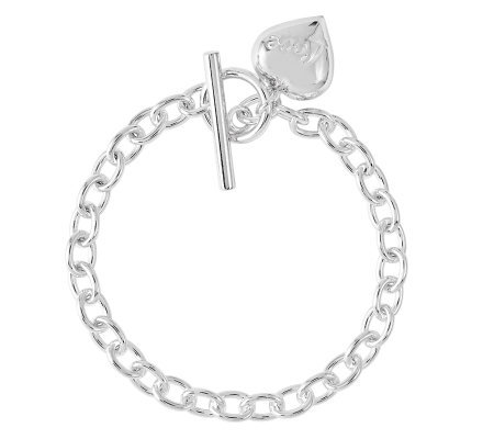 "Sterling 7-1/2"" Puffed Heart Dangle ""Love"" LinkBracelet"