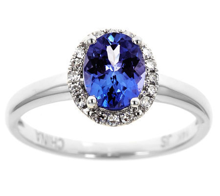 Oval Tanzanite & 1/10 ct tw Diamond Halo Ring,14K Gold