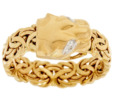 14K Gold Panther Head Byzantine Ring