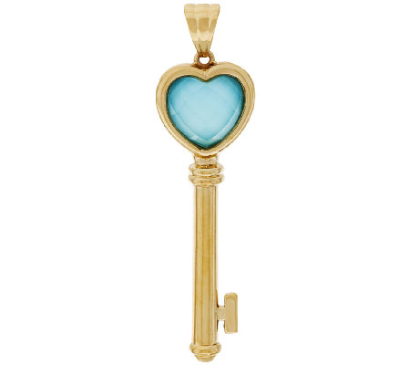 14K Gold Sleeping Beauty Turquoise Doublet Key Pendant