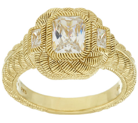 Judith Ripka Sterling & 14K Clad 1.85 cttw Diamonique Ring