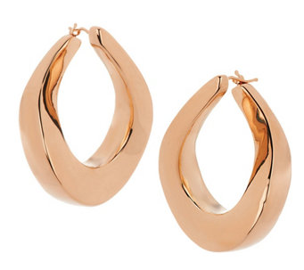 """As Is"" Oro Nuovo 1-1/4"" Graduated Twist Hoop Earrings, 14K - J321298"