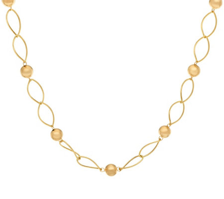 "14K Gold 24"" Marquise Link & Round Beaded Station Necklace, 4.1g"