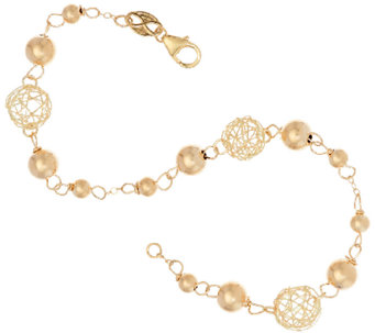 "EternaGold 7"" Open Work Bead Bracelet 14K Gold, 2.2g - J322998"