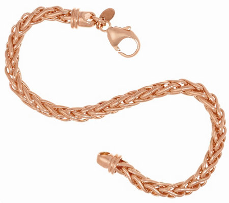 Bronze Polished Woven Spiga Bracelet by Bronzo Italia
