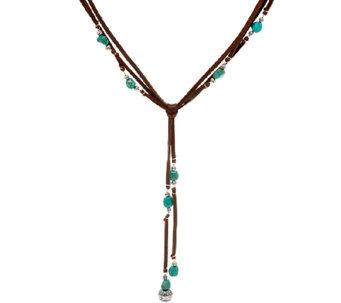 Jennifer Nettles Leather & Sterling Turquoise Bead Y Necklace - J324098