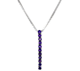 Gemstone Sterling Silver Adjustable Drop Necklace 0.85 cttw - J324298