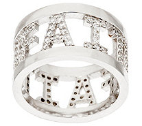 """As Is"" Diamonique Faith, Love, or Hope Pave' Ring, Sterling - J324498"