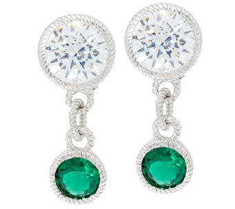 Judith Ripka Sterling Silver Simulated Gemstone Drop Earrings - J326798