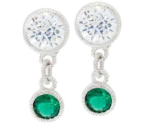 Judith Ripka Sterling Silver Simulated Gemstone Drop Earrings