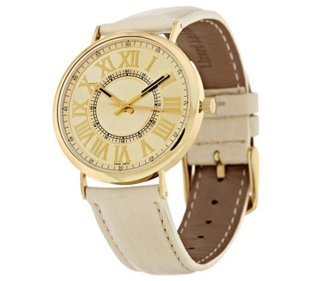 """As Is"" Vicence Round Case Leather Strap Watch, 14K"