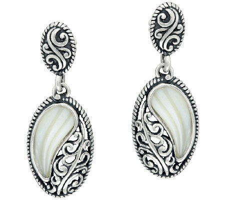 Carolyn Pollack Sterling Silver Carved Mother-of-Pearl Oval Earings