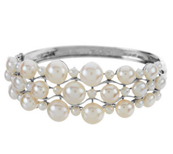 """As Is"" Honora Cultured Pearl Large Fancy Sterling Bangle - J328198"