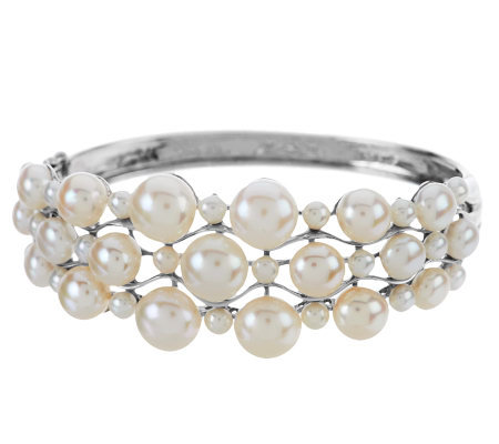 """As Is"" Honora Cultured Pearl Large Fancy Sterling Bangle"