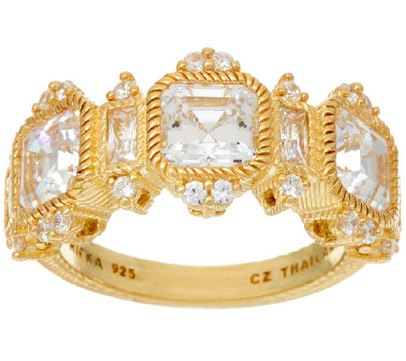 Judith Ripka Sterling or 14K Clad Diamonique Ring