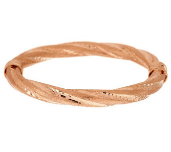 """As Is""Veronese 18K Clad Average Satin Twist Hinged Bangle - J328598"