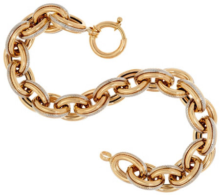 """As Is"" 14K 8"" Polished & Textured Oval Rolo Bracelet 17.1g"