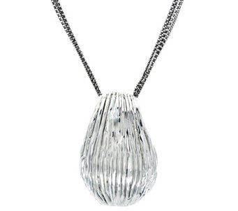 Sterling Silver Ribbed Pendant on Multi-Strand Rolo Link Chain by Or Paz - J329198