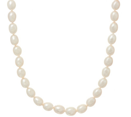 "Honora Cultured Pearl 8.0mm White Oval 18"" Sterling Necklace"