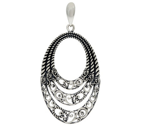 Carolyn Pollack Sterling Silver Signature Three Row Bold Enhancer