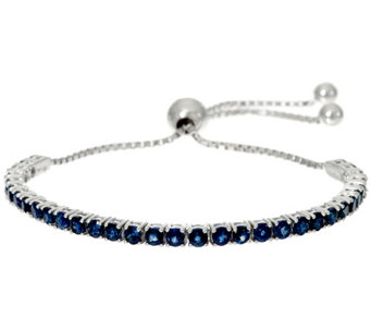 Ruby, Emerald or Sapphire Sterling Silver Adjustable Tennis Bracelet - J329898