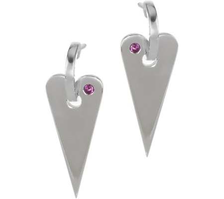 Franco P Sterling Hearts Rhodolite Accent Earrings