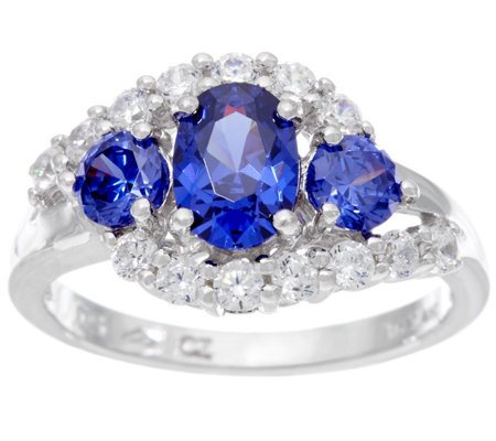 Diamonique & Three Stone Simulated Tanzanite Ring, Sterling