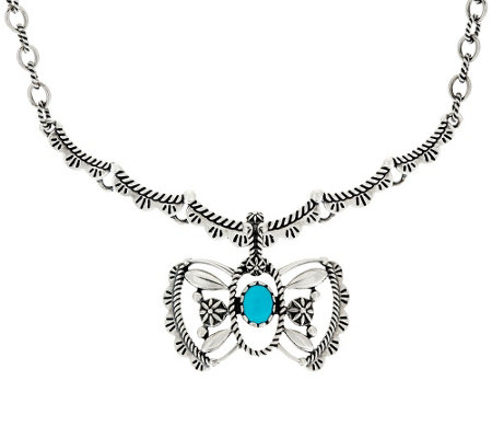"""As Is""Sterling Silver Necklace w/ Butterfly Enhancer by American West"